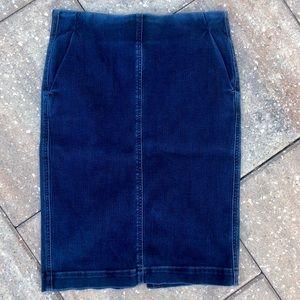 Loft dark denim high waisted pencil skirt